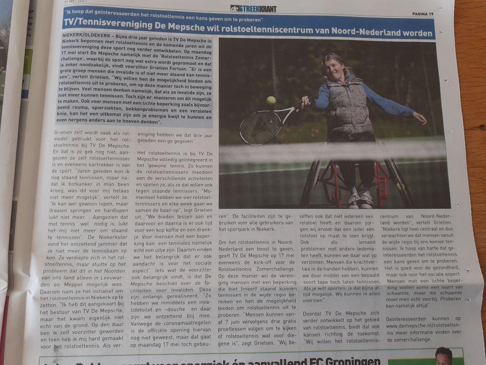 Interview rolstoeltennis, Streekkrant 11 mei 2021