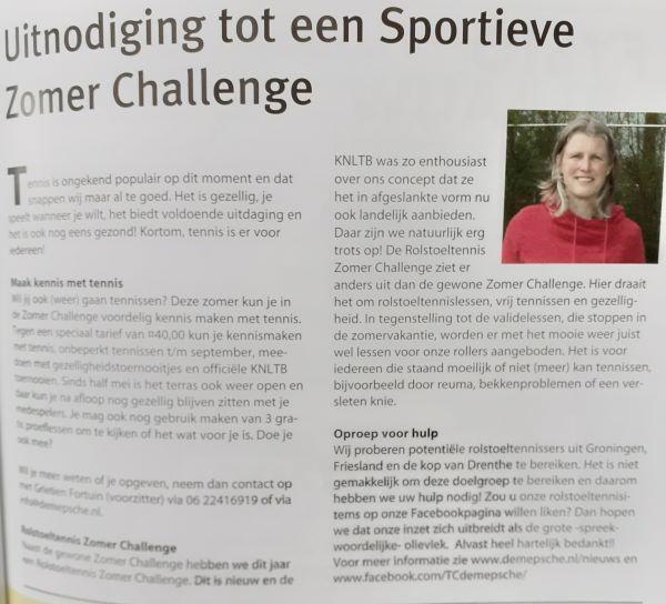interview Grietien Dorpsproat juni 2021 over zomerlidmaatschap en zomer challenge rolstoeltennis